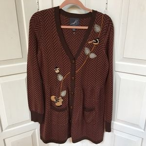 Antropologie Knitted Dove Cardigan Sweater L
